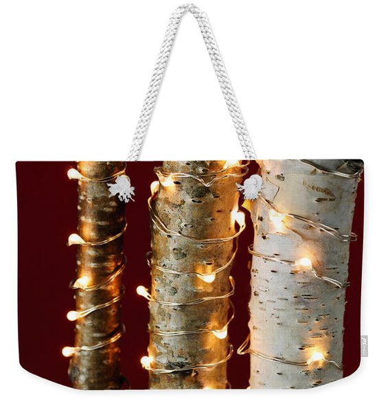 Christmas Lights On Birch Branches Weekender Tote Bag