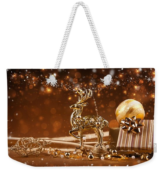 Christmas Reindeer In Gold Weekender Tote Bag