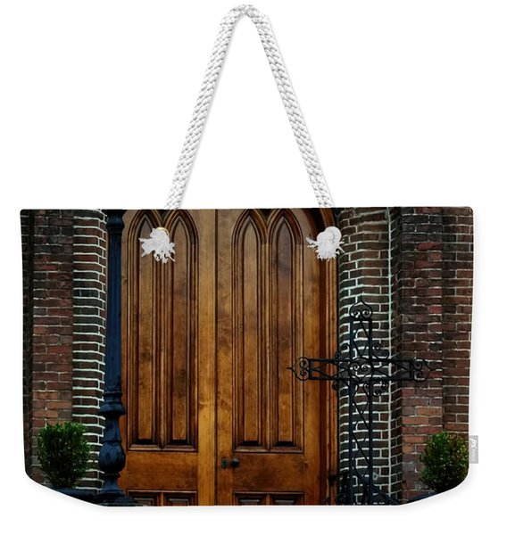 Church Arch And Wooden Door Architecture Weekender Tote Bag