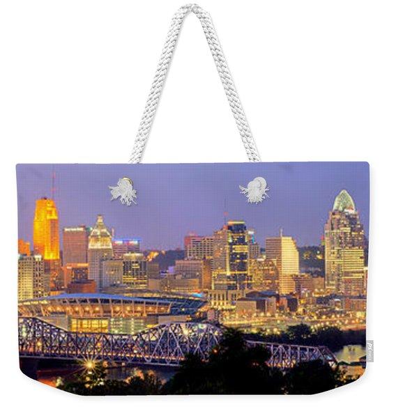 Cincinnati Skyline At Dusk Sunset Color Panorama Ohio Weekender Tote Bag
