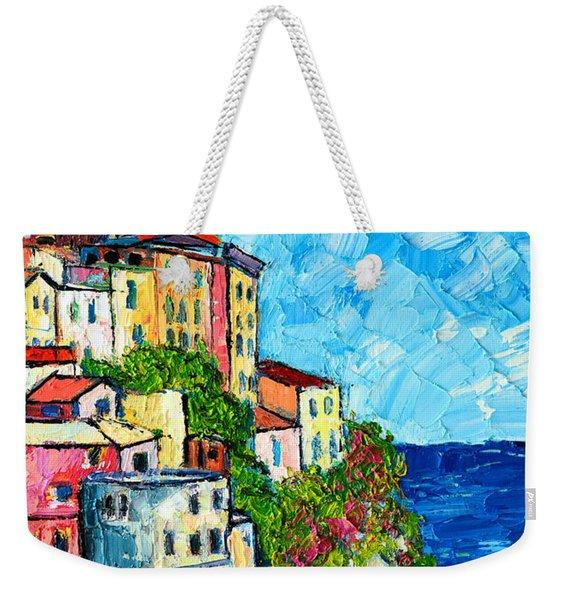 Cinque Terre Italy Manarola Painting Detail 3 Weekender Tote Bag