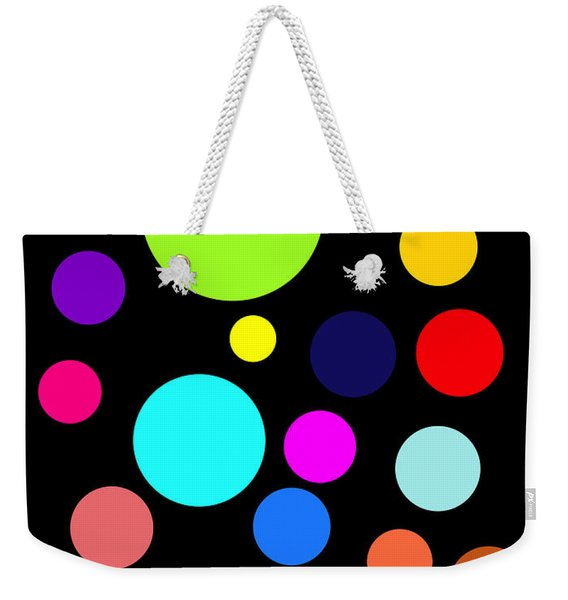 Circles On Black Weekender Tote Bag