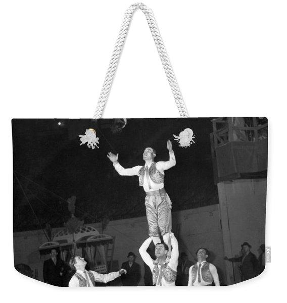 Circus Acrobats Practicing Weekender Tote Bag