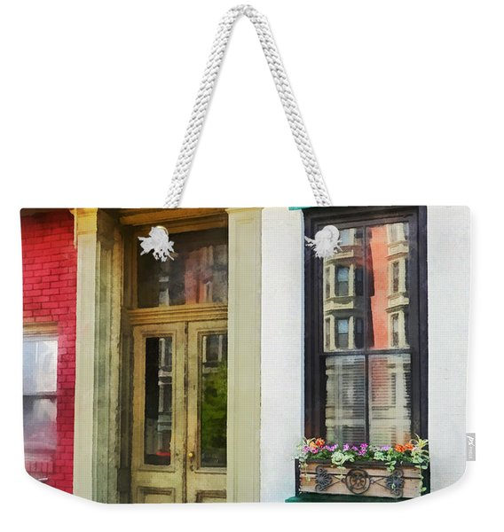 Hoboken Nj - Window With Reflections And Windowbox Weekender Tote Bag