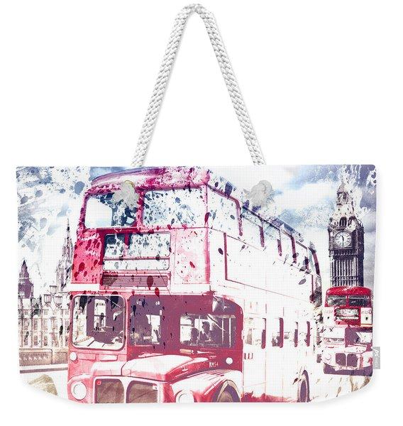 City-art London Red Buses On Westminster Bridge Weekender Tote Bag