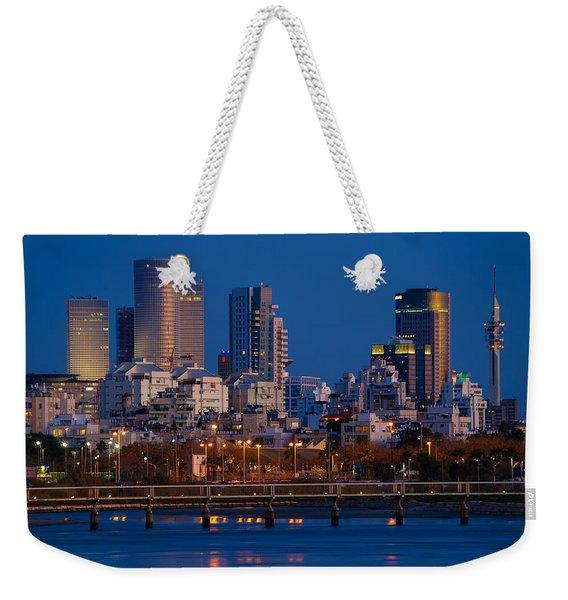 city lights and blue hour at Tel Aviv Weekender Tote Bag