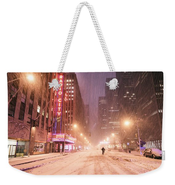 City Night In The Snow - New York City Weekender Tote Bag