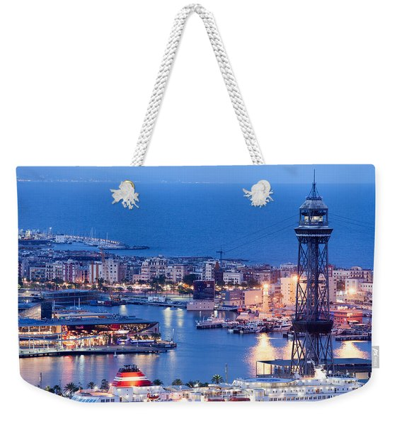 City Of Barcelona From Above At Night Weekender Tote Bag