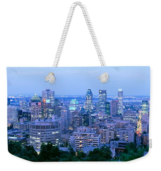 Cityscape At Dusk, Montreal, Quebec Weekender Tote Bag