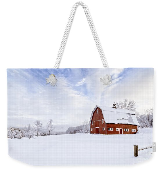 Classic New England Red Barn In Winter Weekender Tote Bag