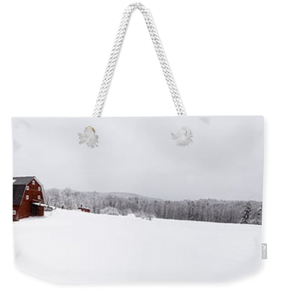 Classic New England Red Barn In Winter Storm Weekender Tote Bag