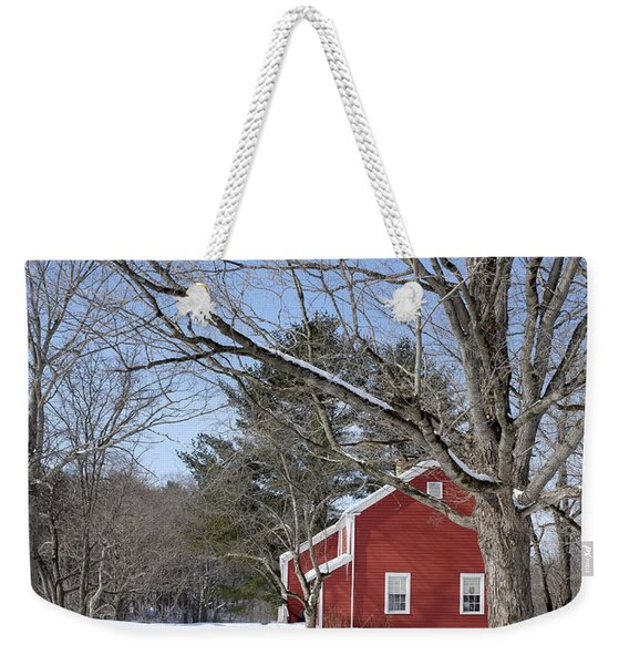 Classic Vermont Red House In Winter Weekender Tote Bag