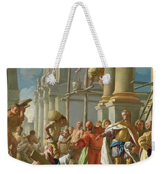 Classical Construction Scene Oil On Panel Weekender Tote Bag