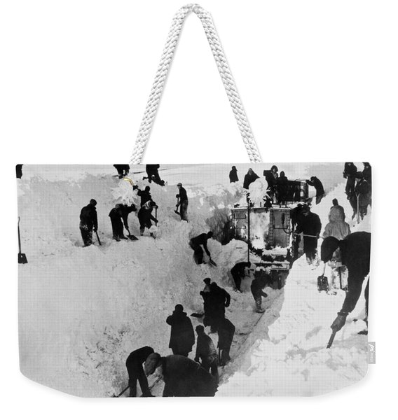 Clearing Snow For Trains Weekender Tote Bag