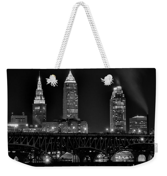 Cleveland Black And White Night Weekender Tote Bag