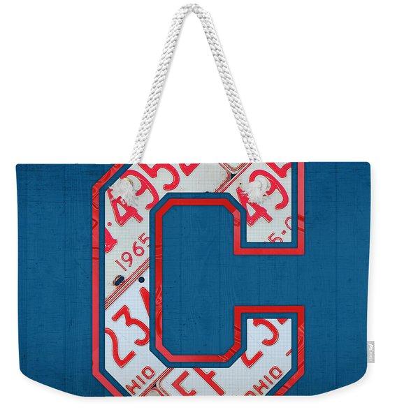 Cleveland Indians Baseball Team Vintage Logo Recycled Ohio License Plate Art Weekender Tote Bag