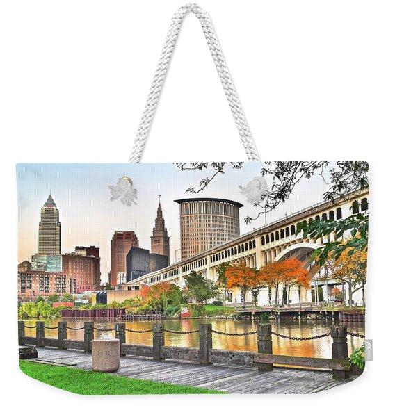 Cleveland Ohio Alongside The Cuyahoga Weekender Tote Bag