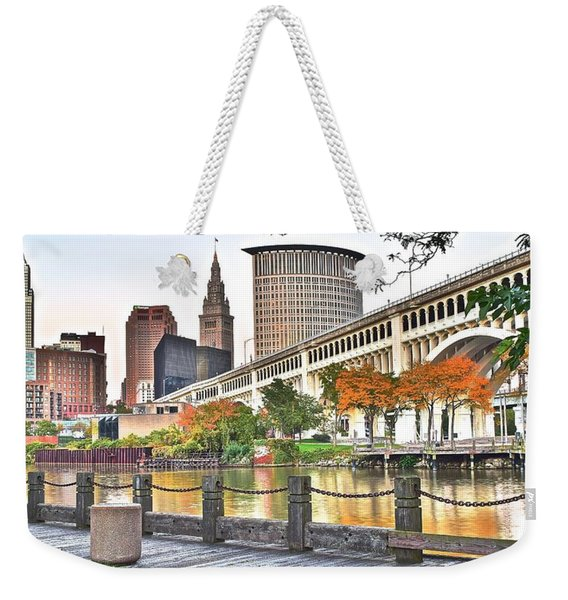 Cleveland Panorama Over The Cuyahoga Weekender Tote Bag