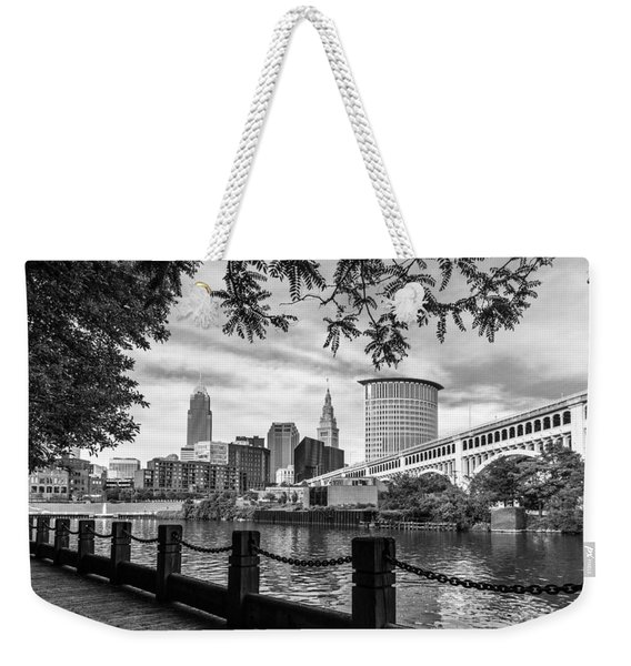 Cleveland River Cityscape Weekender Tote Bag