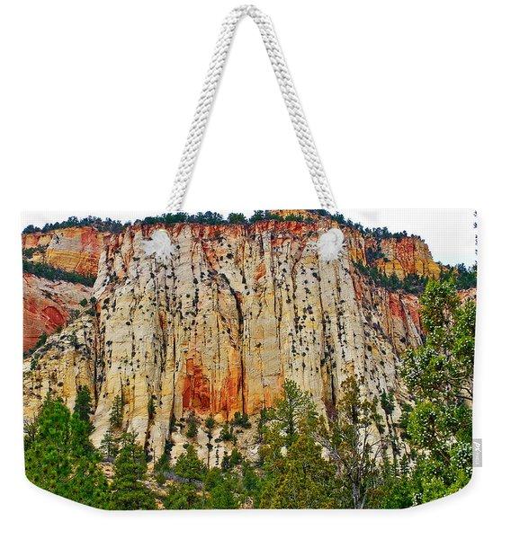 Cliffs Near Checkerboard Mesa Along Zion-mount Carmel Highway In Zion National Park-utah Weekender Tote Bag
