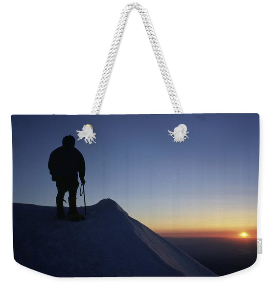 Climber Enjoying A Sunrise Weekender Tote Bag