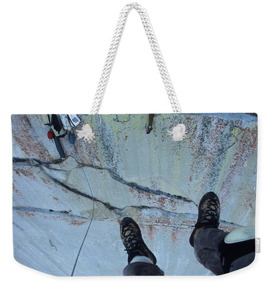 Climber View Of Ascending Cliff Weekender Tote Bag