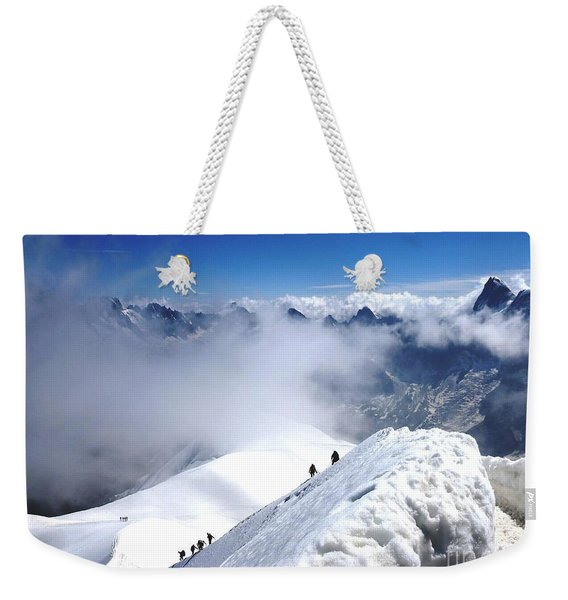Climbing To The Aiguille Du Midi Weekender Tote Bag
