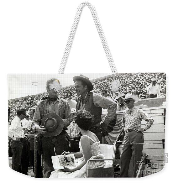 Clint Eastwood  Eric Fleming Characters Rowdy Yates Salinas California 1962 Weekender Tote Bag