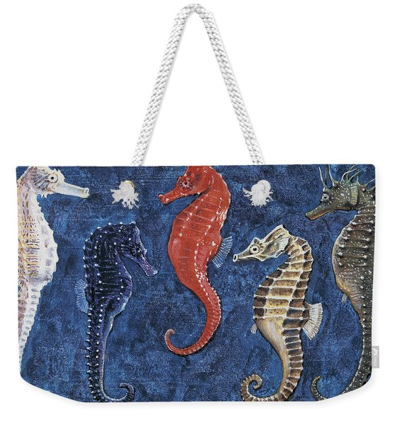 Close-up Of Five Seahorses Side By Side  Weekender Tote Bag