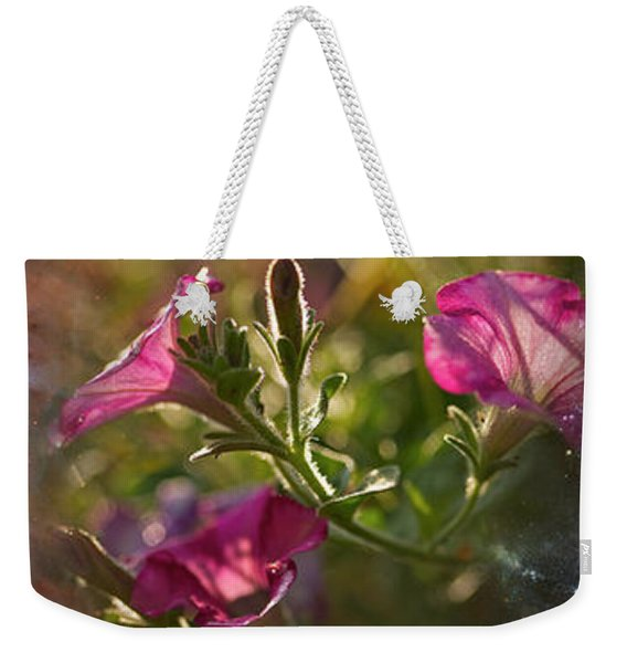 Close-up Of Flowers And Universe Weekender Tote Bag