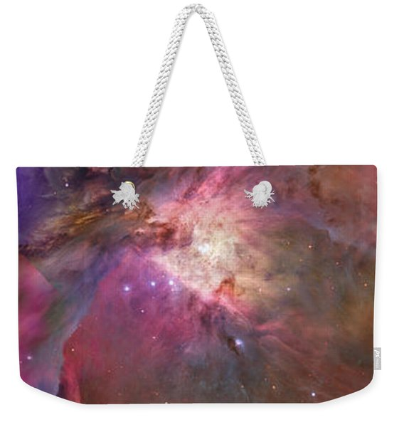 Close-up Of Galaxy With Iris And Tulips Weekender Tote Bag