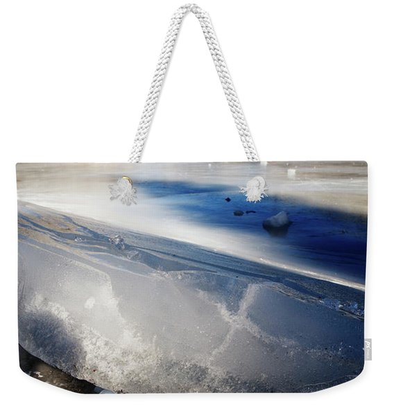 Close-up Of Uplifted Ice On A Frozen Weekender Tote Bag