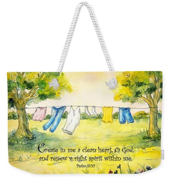 Clothesline Psalm 51 Weekender Tote Bag