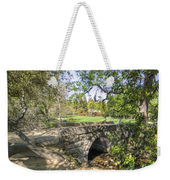 Weekender Tote Bag featuring the photograph Clover Valley Park Bridge by Jim Thompson