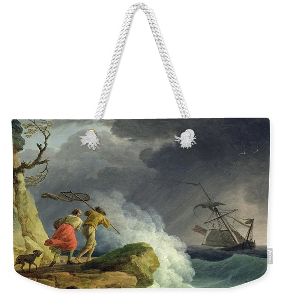 Coastal Scene In A Storm Weekender Tote Bag