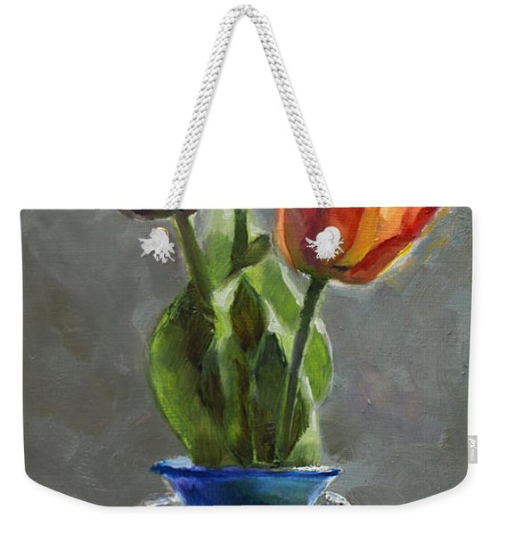 Cobalt And Tulips Still Life Painting Weekender Tote Bag