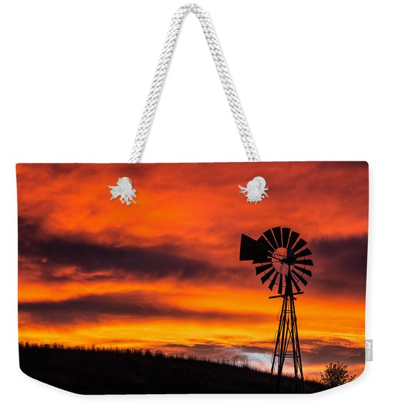 Cobblestone Windmill At Sunset Weekender Tote Bag