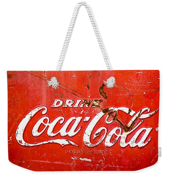 Weekender Tote Bag featuring the photograph Coca-cola Sign by Jill Reger