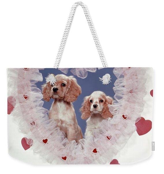 Cocker Spaniels Love Hearts Couple Weekender Tote Bag