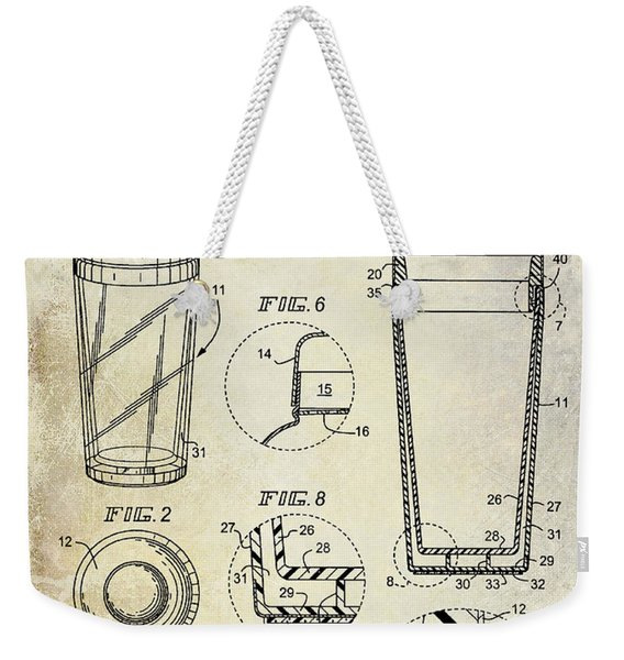 Cocktail Shaker Patent Drawing Weekender Tote Bag