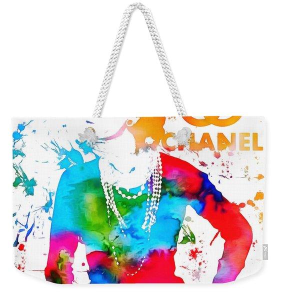 Coco Chanel Paint Splatter Weekender Tote Bag