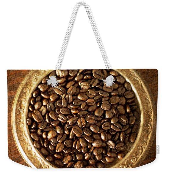 Coffee Beans On Antique Silver Platter Weekender Tote Bag