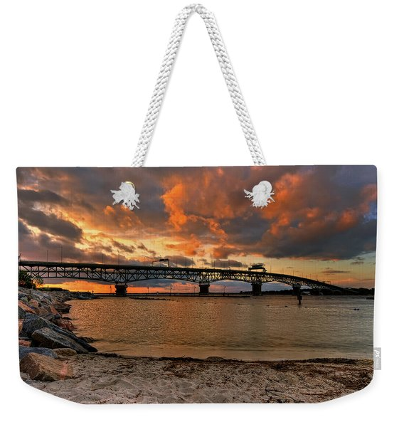Coleman Bridge At Sunset Weekender Tote Bag
