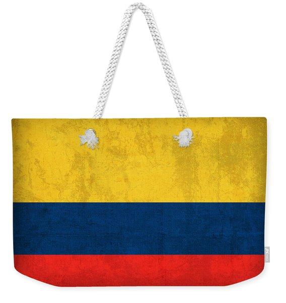 Colombia Flag Vintage Distressed Finish Weekender Tote Bag