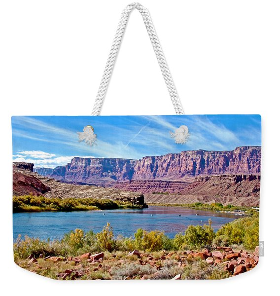 Colorado River Upstream From Boat Ramp At Lee's Ferry In Glen Canyon National Recreation Area-az Weekender Tote Bag