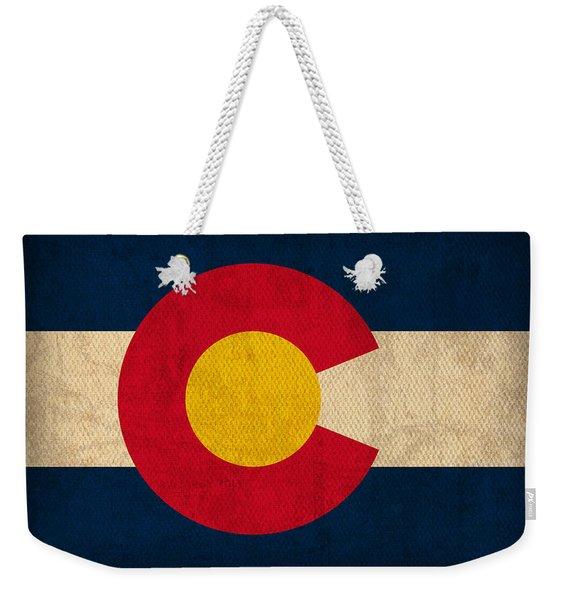 Colorado State Flag Art On Worn Canvas Weekender Tote Bag