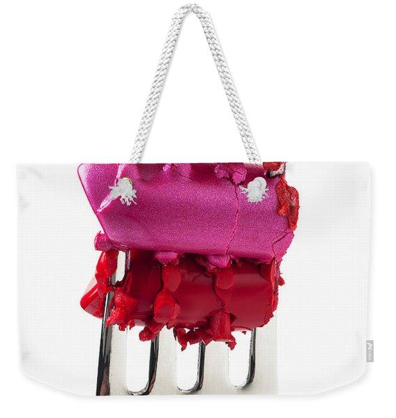 Colored Lipstick On Fork Weekender Tote Bag