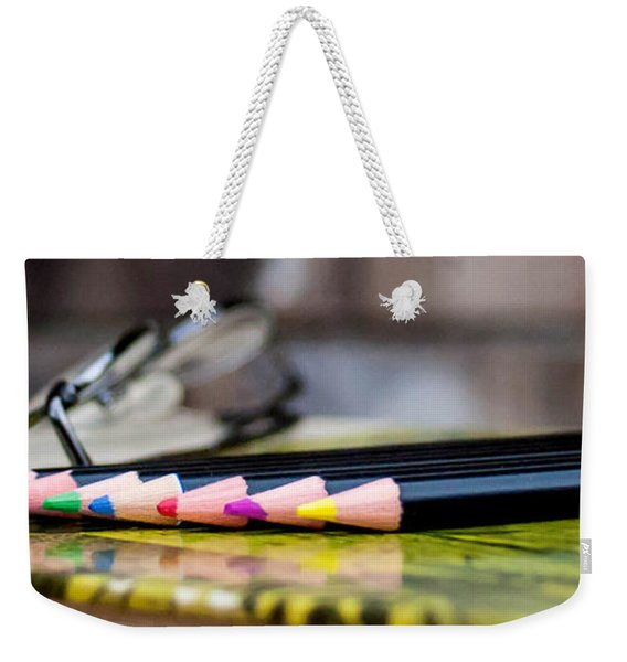 Colored Pencils On Book Weekender Tote Bag