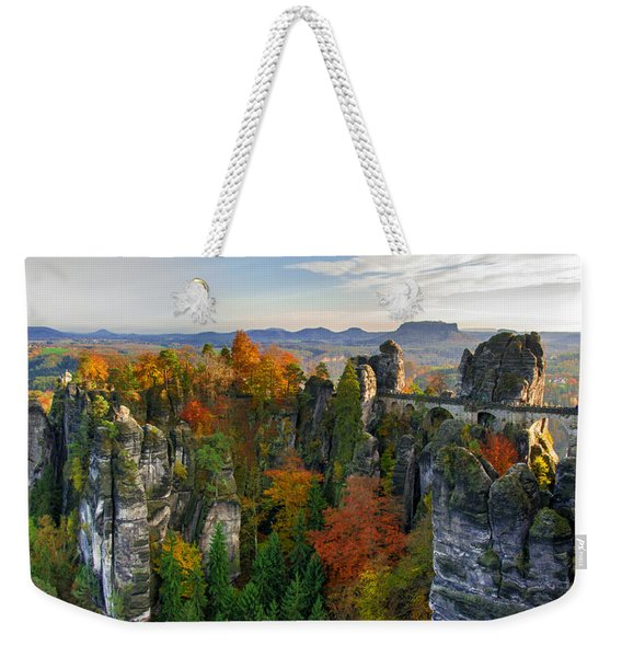 Colorful Bastei Bridge In The Saxon Switzerland Weekender Tote Bag