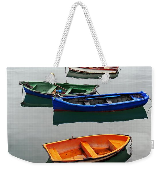 colorful boats on Santurtzi Weekender Tote Bag